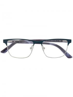 Очки в квадратной оправе Calvin Klein. Цвет: синий
