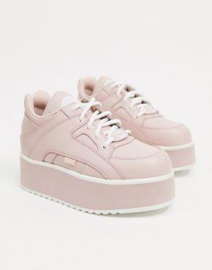 Розовые кожаные кроссовки на массивной платформе -Розовый Buffalo
