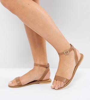 Кожаные сандалии для широкой стопы ASOS FELON DESIGN. Цвет: рыжий