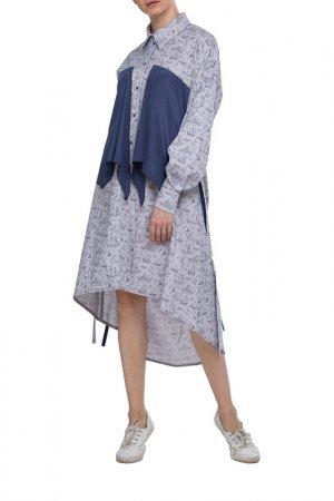 Платье Adzhedo. Цвет: серый, кораблики