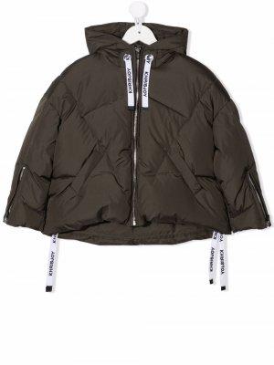 Hooded feather-down jacket Khrisjoy KIDS. Цвет: зеленый
