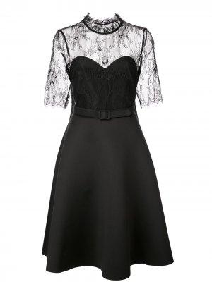 Кружевное коктейльное платье Badgley Mischka. Цвет: черный