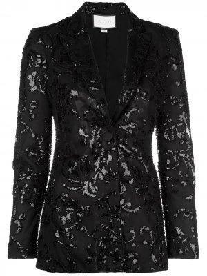 Приталенный блейзер с вышивкой Alexis. Цвет: черный