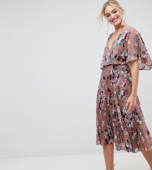 Платье миди с плиссированной юбкой, рукавами клеш и цветочным принтом ASOS DESIGN Tall-Мульти Tall