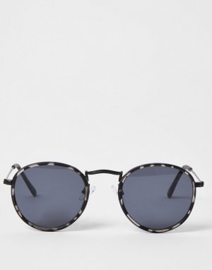 Круглые солнцезащитные очки с серой черепаховой оправой -Серый River Island
