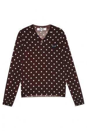 Шерстяной пуловер в горох бордовый Comme des Garçons PLAY. Цвет: красный