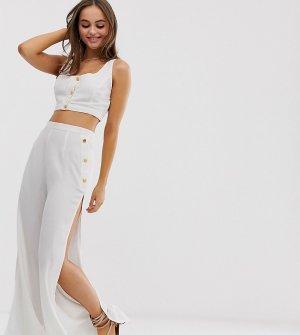 Белый пляжный комплект из кроп-топа на пуговицах и брюк эксклюзивно от Glamorous