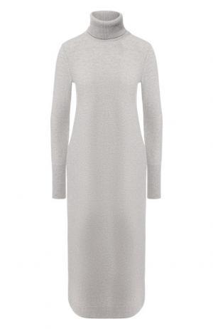 Кашемировое платье-миди с воротником-стойкой Loro Piana. Цвет: светло-серый