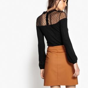 Пуловер с воротником-поло и вышивкой гладью вверху LA REDOUTE COLLECTIONS. Цвет: сливовый,черный