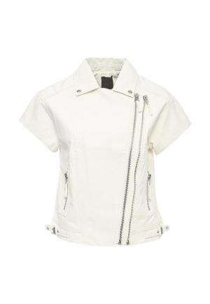Куртка кожаная Silvian Heach. Цвет: белый