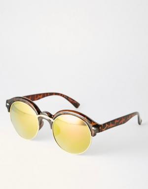 Солнцезащитные очки в коричневой черепаховой оправе с желтыми линзами 7X-Коричневый цвет SVNX