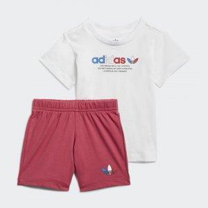 Комплект: футболка и шорты Adicolor Originals adidas. Цвет: белый