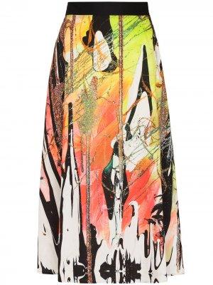 Юбка миди с абстрактным принтом Christopher Kane. Цвет: зеленый