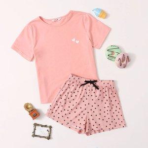 Пижама в горошек с сердечным принтом для девочек SHEIN. Цвет: нежний розовый
