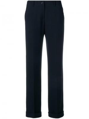 Классические брюки с подвернутыми манжетами Aspesi. Цвет: синий
