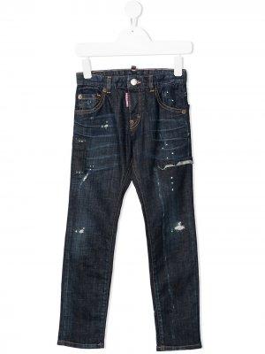 Прямые джинсы с эффектом потертости Dsquared2 Kids. Цвет: синий