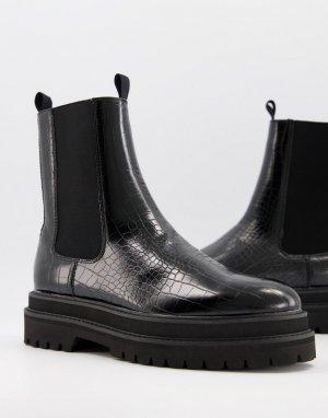 Черные ботинки-челси из искусственной кожи с крокодиловым принтом -Черный ASOS DESIGN