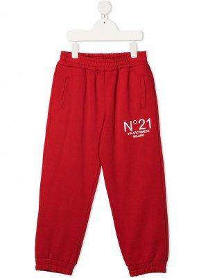 Спортивные брюки с логотипом Nº21 Kids. Цвет: красный