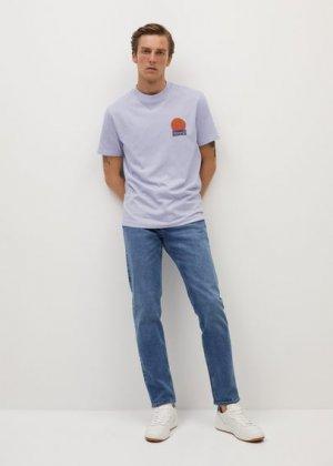 Хлопковая футболка с принтом - Palm Mango. Цвет: сиреневый