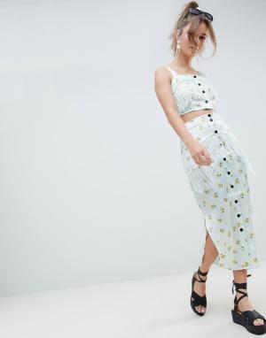 Атласная юбка миди с бахромой и принтом -Мульти ASOS DESIGN