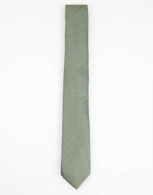 Галстук в елочку шалфейно-зеленого цвета -Зеленый цвет Topman