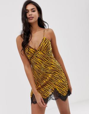 Шифоновое платье-комбинация со звериным принтом Savage x Fenty-Коричневый FENTY