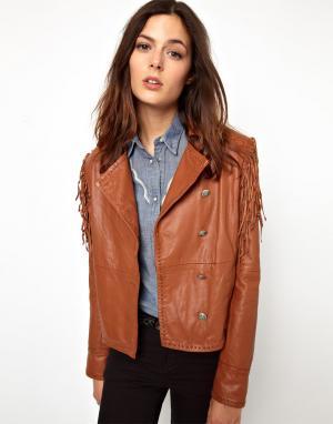 Кожаная куртка с бахромой Levis. Цвет: dark ginger