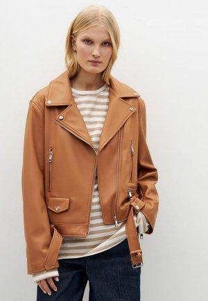 Куртка кожаная Lime. Цвет: коричневый