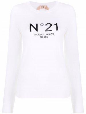 Шерстяной джемпер с логотипом Nº21. Цвет: нейтральные цвета