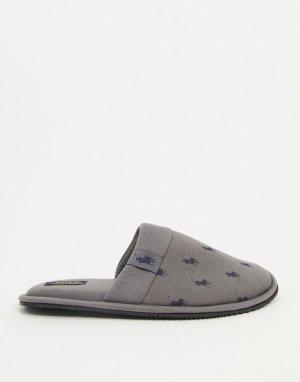 Серые тапочки с принтом логотипа Ralph Lauren-Серый Polo Lauren