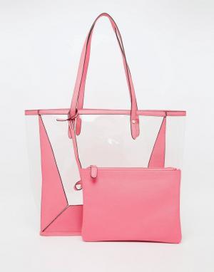 Прозрачная пляжная сумка со съемным клатчем ASOS. Цвет: розовый