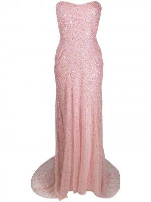 Платье с пайетками без бретелей Jenny Packham. Цвет: розовый
