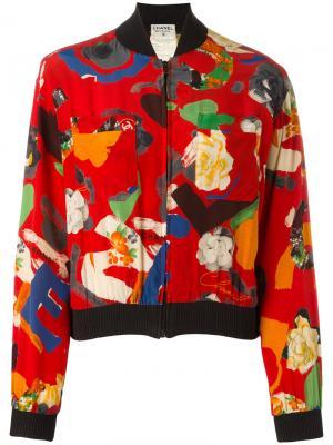 Куртка-бомбер с цветочным узором Chanel Vintage. Цвет: красный