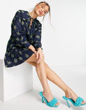 Платье мини с присборенной юбкой, большим воротником и принтом растений -Темно-синий Glamorous
