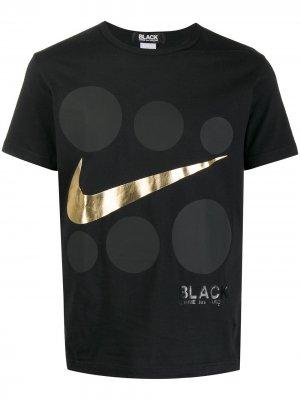 Футболка с логотипом из коллаборации Nike Black Comme Des Garçons. Цвет: черный