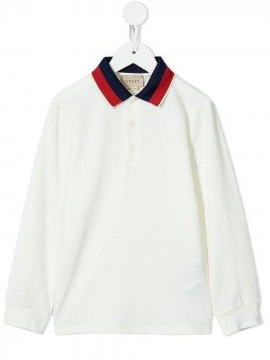Рубашка поло с контрастным воротником Gucci Kids. Цвет: белый