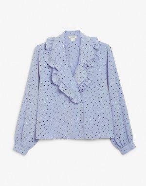 Синяя блузка в горошек с рюшами на воротнике Marian-Голубой Monki