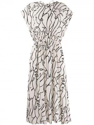 Платье миди Outline с принтом Alysi. Цвет: нейтральные цвета