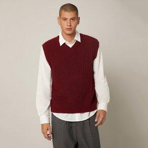 Мужской свитер-жилет с v-образным воротником SHEIN. Цвет: бургундия
