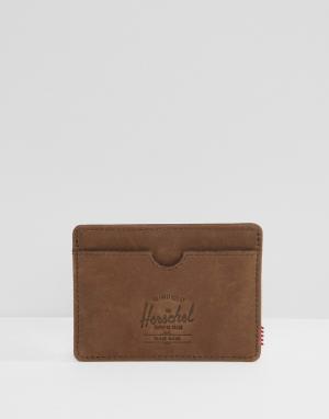 Красная кожаная визитница Herschel Supply Co. Цвет: коричневый