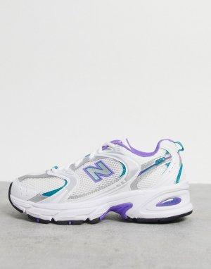 Белые сетчатые кроссовки со вставками лавандового цвета 530-Белый New Balance