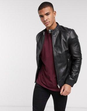 Кожаная куртка с серебристой отделкой -Черный Barneys Originals
