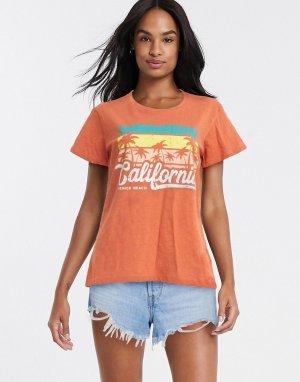 Оранжевая футболка с принтом -Оранжевый Blend She