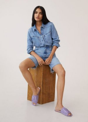 Кожаные сандалии со сборками - Puffy Mango. Цвет: сиреневый