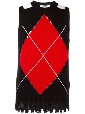 Трикотажная жилетка MSGM. Цвет: чёрный