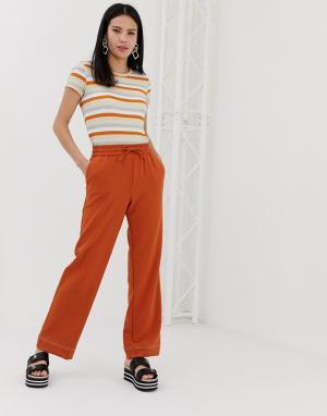 Джоггеры цвета ржавчины с широкими штанинами -Коричневый Monki