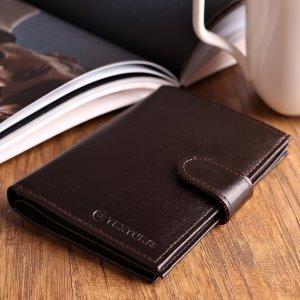 Обложка для автодокументов и паспорта, отдел купюр, 5 карманов карт, матовый, цвет коричневый TEXTURA