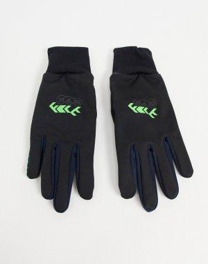 Черные перчатки c отделкой неонового цвета со вставками для сенсорных экранов -Черный цвет ASOS DESIGN