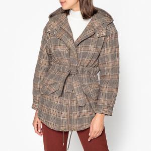 Пальто с капюшоном в клетку COX BA&SH. Цвет: каштановый
