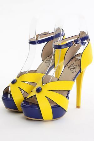 Босоножки Brucco. Цвет: желтый, синий